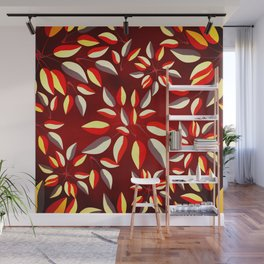 Duo-Toned Leaf pattern 2 (Red) Wall Mural