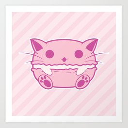 Pink Kawaii Cat Macaroon Art Print