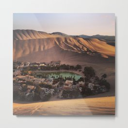 Sunset at Huacachina, Ica, Peru Metal Print