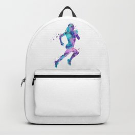 Girl Running Art Colorful Purple Pink Turquoise Watercolor Sports Art Backpack