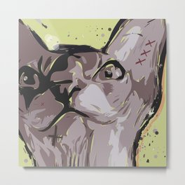 Cartoon style. Illustration with the evil cat. Metal Print