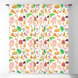 Illustration of a collection of Chinese ingredients Blackout Curtain