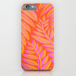 Hot Tropics - Orange Pink Tropical Vines iPhone Case