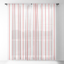 Classic Baseball Pattern Red Lines On White Sheer Curtain