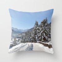 switzerland Throw Pillows featuring Winter in Switzerland by Design Windmill