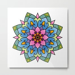 Colourful Botanical Mandala Metal Print