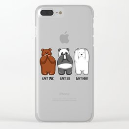 Three Wise Bears - Hear No Evil, See No Evil, Speak No Evil Clear iPhone Case