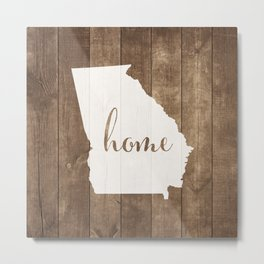 Georgia is Home - White on Wood Metal Print