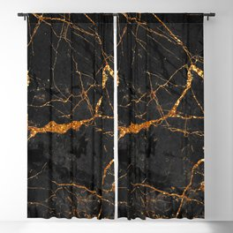 Black Malachite Marble With Gold Veins Blackout Curtain
