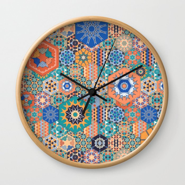 Hexagons Tiles (Colorful) Wall Clock