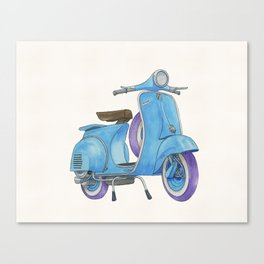Little Blue Vespa Canvas Print