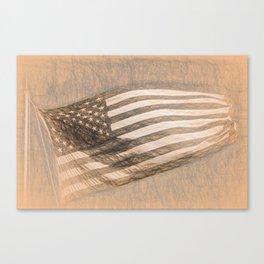 American Flag da Vinci Style Canvas Print
