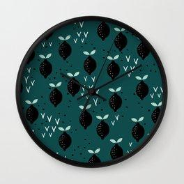 Botanical fruit garden teal winter lemons pop pattern Wall Clock