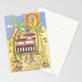 desert modernism, blue beige yellow green Stationery Cards