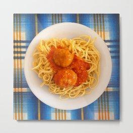 Pasta Linguine & Polpette Metal Print