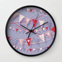 card Wall Clocks featuring Hate card by Lime
