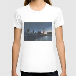 The Palace of Westminster London Oil on Canvas T-shirt