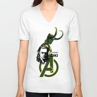 loki V-neck T-shirts featuring LOKI by Mad42Sam