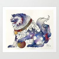 foo fighters Art Prints featuring Foo Dog by Chanel Harris