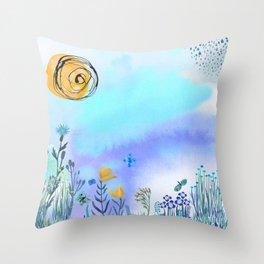 Blue Garden II Throw Pillow