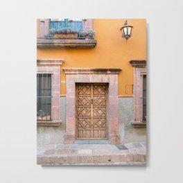 Orange & Turquoise | The San Miguel de Allende Mexico door collection | Travel photography print Metal Print