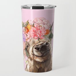 Highland Cow with Flowers Crown in Pink Travel Mug