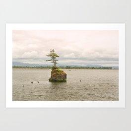 Altoona Rock Seastack Island Columbia River Oregon Washington Northwest Landscape Forest Trees Art Print