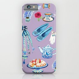 Jane Austen sewing, tea, cake favourite Regency pastimes illustrated in watercolor iPhone Case