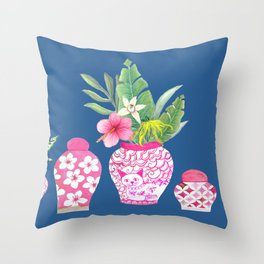 Pink Chinese Ginger jars on classic blue, 2020 Chinoiserie Throw Pillow