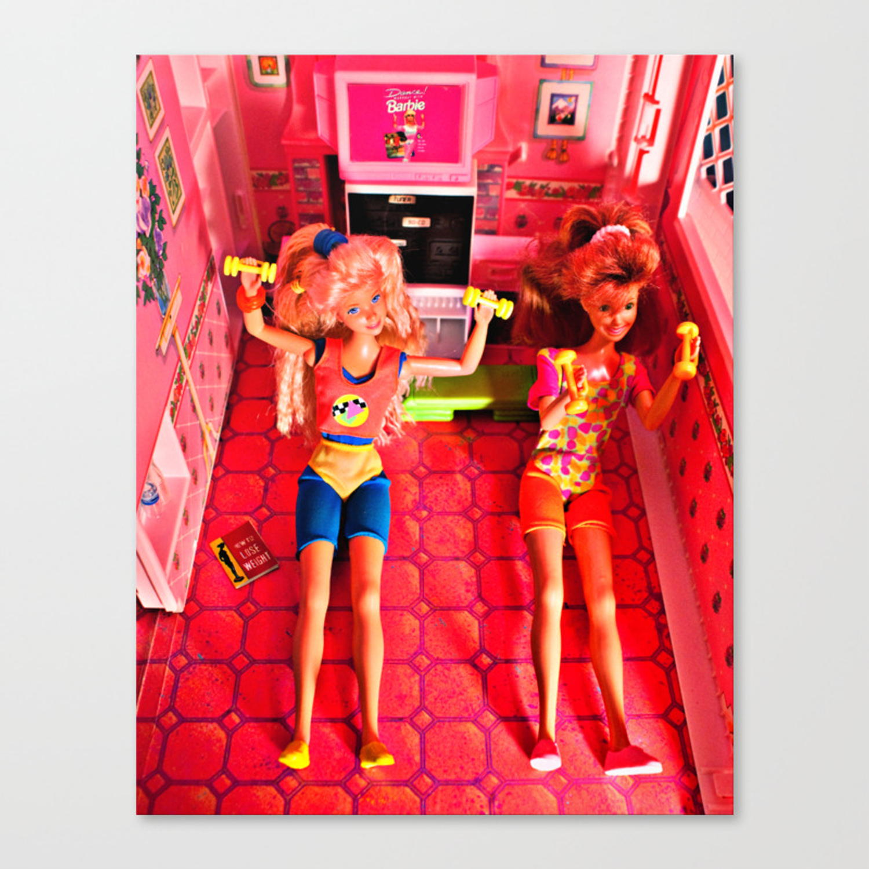 Aerobics with Ana and Mia, 1989 Canvas Print