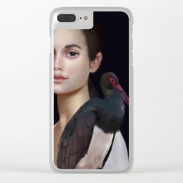 Miss Black Stork Clear iPhone Case