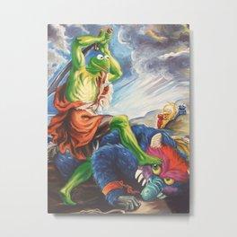 Kermit Slaying His Pet Monster Metal Print