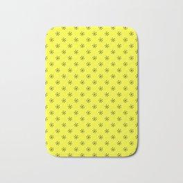 Black on Electric Yellow Snowflakes Bath Mat
