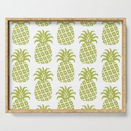 Retro Mid Century Modern Pineapple Pattern Olive Green Serving Tray
