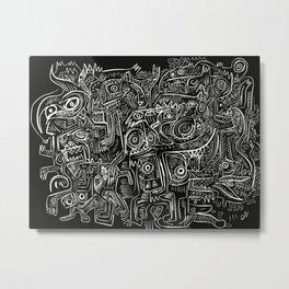 Street Graffiti Black and White Primitive Art Metal Print