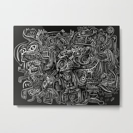 Street Graffiti Black and White Primitive Art Metal Print