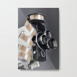 Retro mechanical movie camera and reel film Metal Print