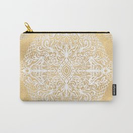 White Gouache Doodle on Gold Paint Carry-All Pouch