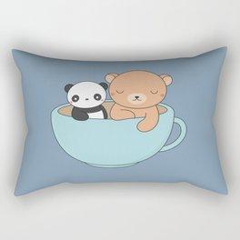Kawaii Cute Brown Bear and Panda Rectangular Pillow