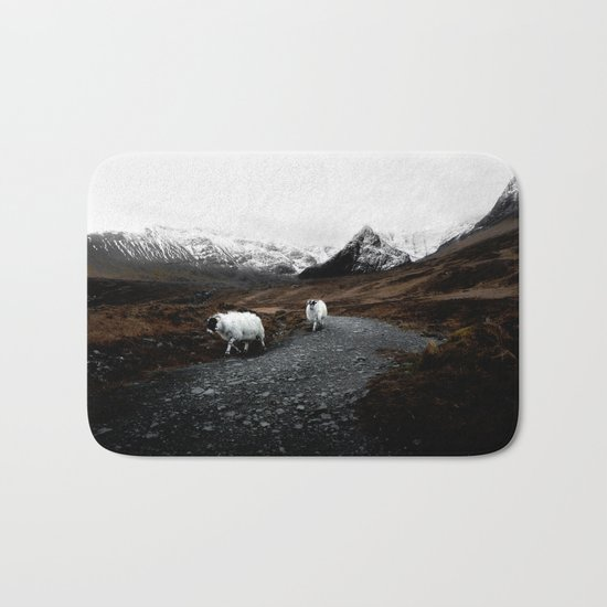 SHEEP - MOUNTAINS - SNOW - ROAD - PHOTOGRAPHY - FUNNY Bath Mat