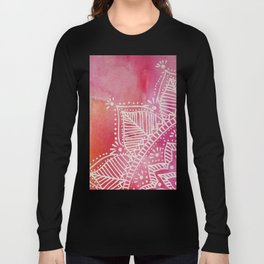Mandala flower on watercolor background - pink Long Sleeve T-shirt