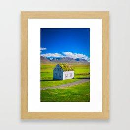 Traditional icelandic timber house Framed Art Print