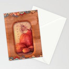 Sweet Light, Pomegranate, Tree Nuts and a Antique Map Stationery Cards