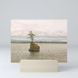 Altoona Rock Seastack Island Columbia River Oregon Washington Northwest Landscape Forest Trees Mini Art Print