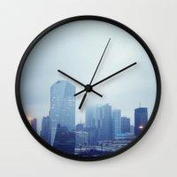philadelphia Wall Clocks featuring Philadelphia  by Kameron Elisabeth