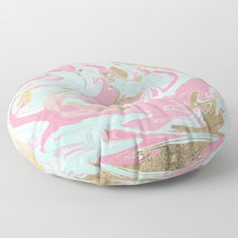 Abstract pink teal gold liquid marble pattern Floor Pillow