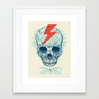 owls Framed Art Prints featuring Skull Bolt by Rachel Caldwell