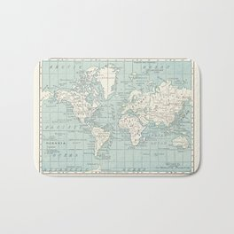 World Map in Blue and Cream Bath Mat