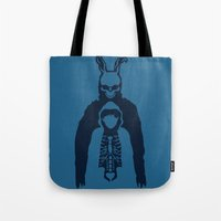 donnie darko Tote Bags featuring Donnie Darko by sgrunfo