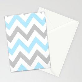 BLUE & GRAY CHEVRON Stationery Cards